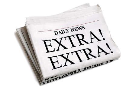 Krantenkop Extra Extra geïsoleerd op witte achtergrond Stockfoto