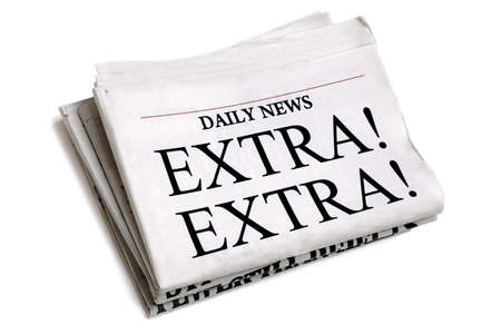 Newspaper headline Extra Extra isolated on white background