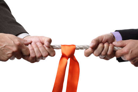 Tug of war concept for business rivalry, dispute or competition photo