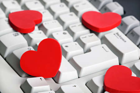 Love Or Online Dating Concept Red Heart Shape Symbol On White