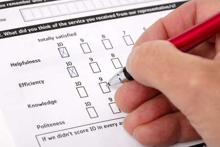 Multiple choice questionnaire checkbox on customer service satisfaction survey form photo