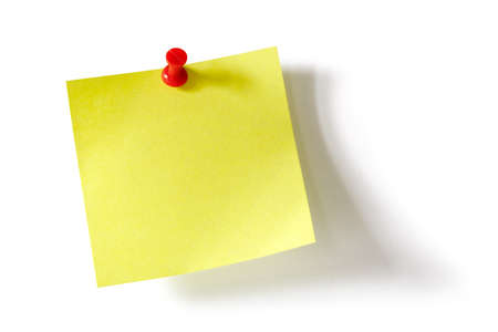Yellow adhesive note with red push pin photo