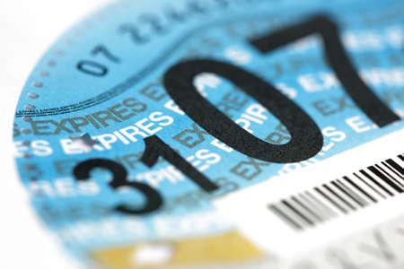 Close up of a British road tax disc