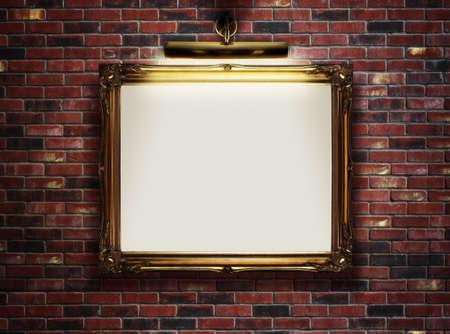 art museum: Cornice con tela di canapa in bianco appeso su una parete di mattoni in museo d'arte Archivio Fotografico