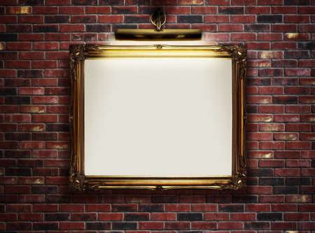 Picture frame with blank canvas hanging on a brick wall in art museum photo