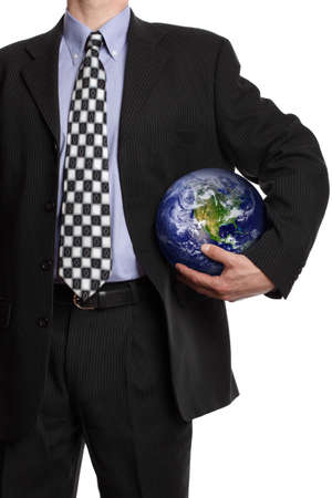 Business man holding a globe in his hand in a soccar ball pose symbol for global business, communications, teamwork or environmental conservation photo