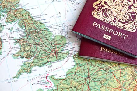 emigration immigration: British passport and map of Europe