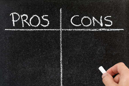 cons: Blackboard list of pros and cons, for and against argument concept