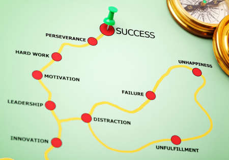 perseverance: Push pin showing the direction on the road to success