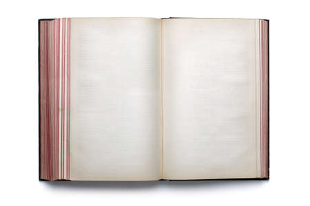 hardback: Two blank pages in an old empty hardback book
