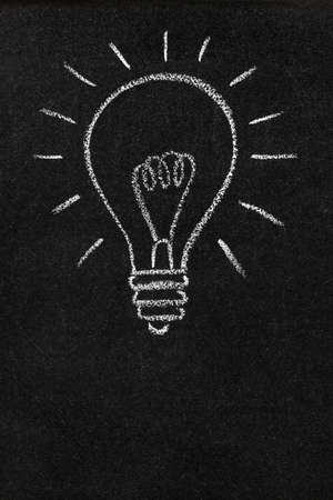 A light bulb drawn on a chalkboard photo