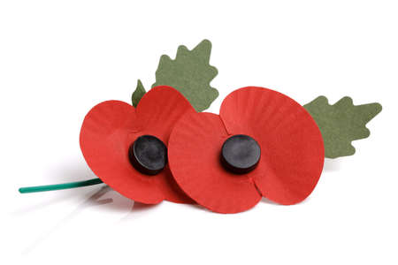 Artificial poppy day appeal isolated on white background Stock Photo