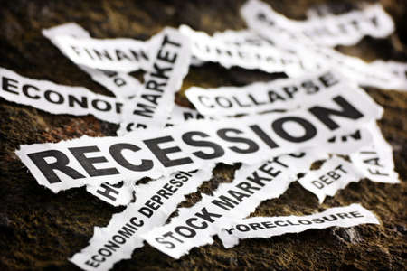 economic depression:  Newspaper headlines depicting the economic depression