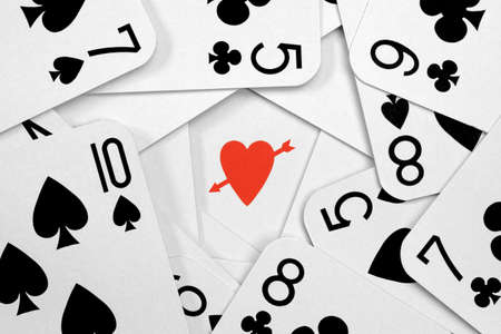 Arrow through the heart gambling concept for being lucky in love photo