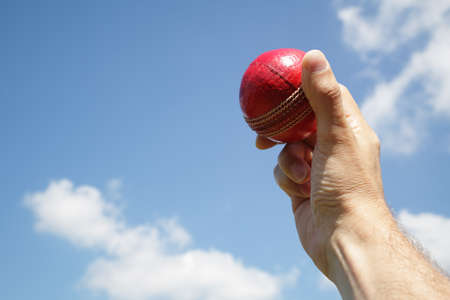 cricket game: Cricket bowler about to bowl the ball against blue sky