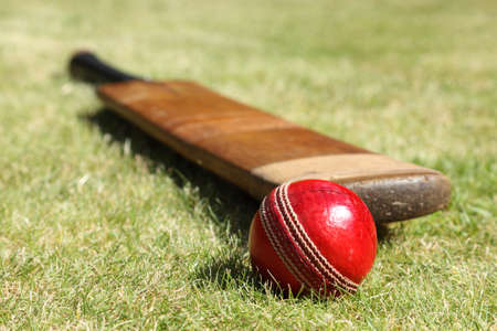 Cricket ball and bat on green grass of cricket pitch photo