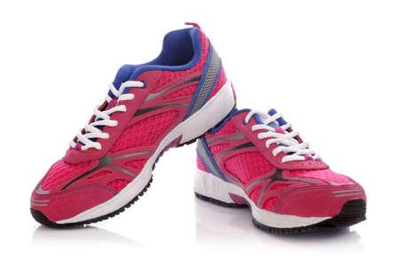 Nieuwe merkloze loopschoen, tennisschoen of trainer op wit wordt geïsoleerd Stockfoto
