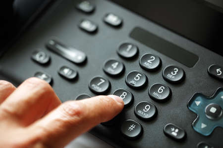 landline: Dialing telephone keypad concept for communication, contact us and customer service support