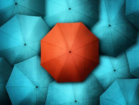 menschenmenge: Roten Regenschirm stehend aus der Masse der blauen brollys