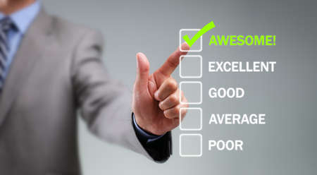 testimonial: Tick placed in awesome checkbox on customer service satisfaction survey form