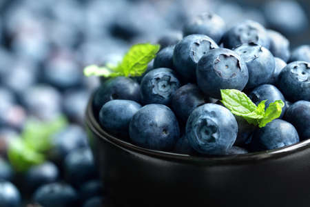 organic concept: Blueberry antioxidant organic superfood in a bowl concept for healthy eating and nutrition Stock Photo