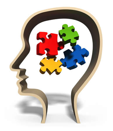 mental confusion: Head with jigsaw puzzle pieces in brain concept for problem solving, solution, problems or puzzled mind