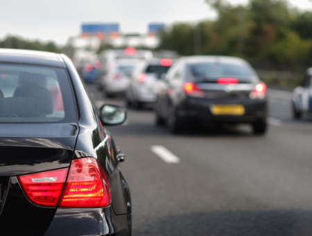 carbon pollution: Rush hour traffic congestion focus on tail brake light