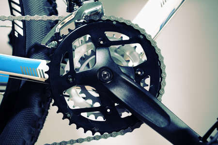bicycle gear: Mountain bike chain set, pedal and wheel Stock Photo