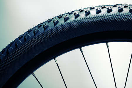 mountain bicycling: Bicycle wheel and tire close up abstract Stock Photo