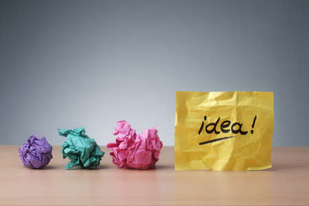 Evolving idea concept crumpled paper ball brainstorming for a good idea Stok Fotoğraf
