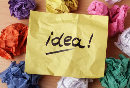 creativeness: Idea concept crumpled paper ball brainstorming for a good idea Stock Photo