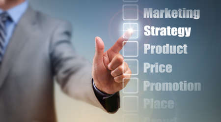 product development: Businessman selecting marketing mix strategy options for product, price, promotion, place and brand Stock Photo