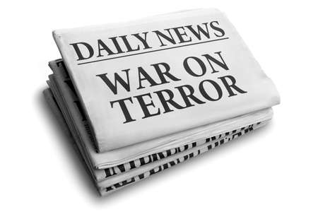 Daily news newspaper headline reading war on terror concept for fight against terrorism