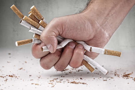 break: Man refusing cigarettes concept for quitting smoking and healthy lifestyle Stock Photo