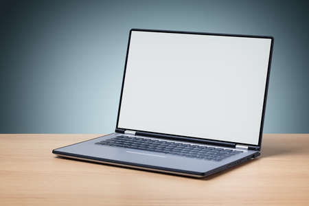 Laptop on desk with blank screen for copy or web page Stock Photo - 35905395
