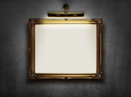 business exhibition: Picture frame with blank canvas hanging on a wall in an art museum