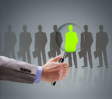 gerente: El reclutamiento y el concepto de b�squeda de empleo para la elecci�n de las personas adecuadas y recursos humanos