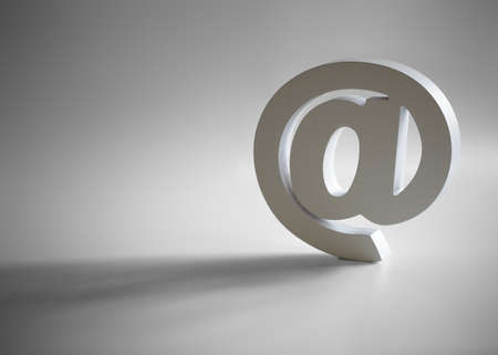 White e-mail @ symbol with shadow and copy space 스톡 콘텐츠