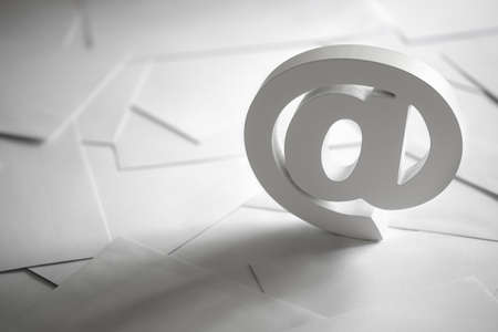 internet: Email symbol on business letters concept for internet, contact us and e-mail address