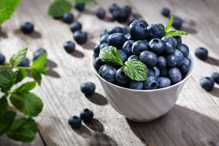 Blueberry antioxidant organic superfood in a bowl concept for healthy eating and nutrition 스톡 콘텐츠
