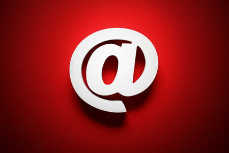 3d contact us: Email symbol on red background concept for internet, contact and e-mail address