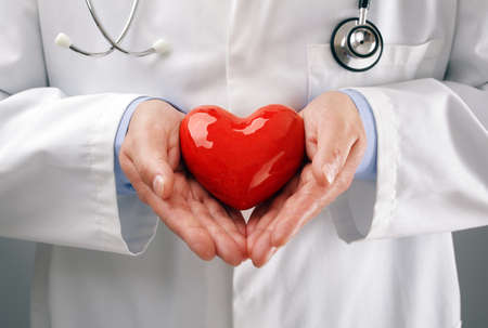 cardiac care: Doctor or cardiologist holding heart with care in hands concept for healthcare and diagnosis medical cardiac pulse test Stock Photo