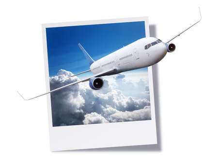 breaking free: Passanger airplane flying above clouds breaking free from an instant print photo or postcard concept for travel and vacations Stock Photo