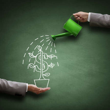 us money: Watering can and money tree drawn on a blackboard concept for business investment, savings and making money Stock Photo