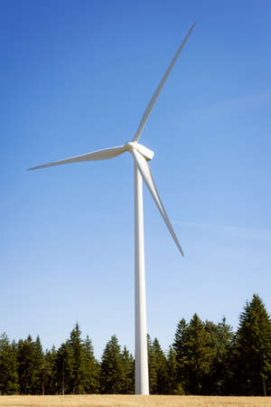 turbina: Viento parque eólico de la turbina en el campo cerca de árboles con el cielo azul Foto de archivo