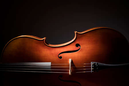 violines: Silueta de un violonchelo sobre fondo negro con copia espacio para el concepto de la música Foto de archivo