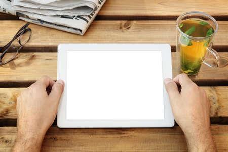 blank newspaper: Digital tablet with blank screen in coffee shop cafe