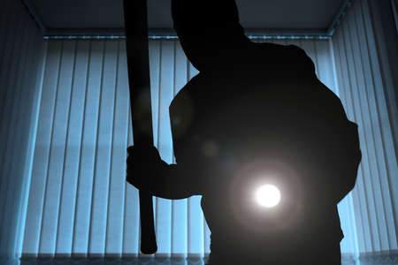 thief: Burglar or intruder inside of a house or office with flashlight and baseball bat