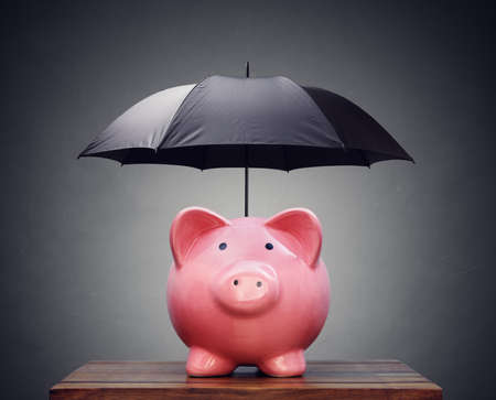 investing risk: Piggy bank with umbrella concept for finance insurance, protection, safe investment or banking Stock Photo