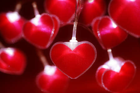 loveheart: Red heart fairy lights valentines day background or abstract love, dating and romance concept Stock Photo